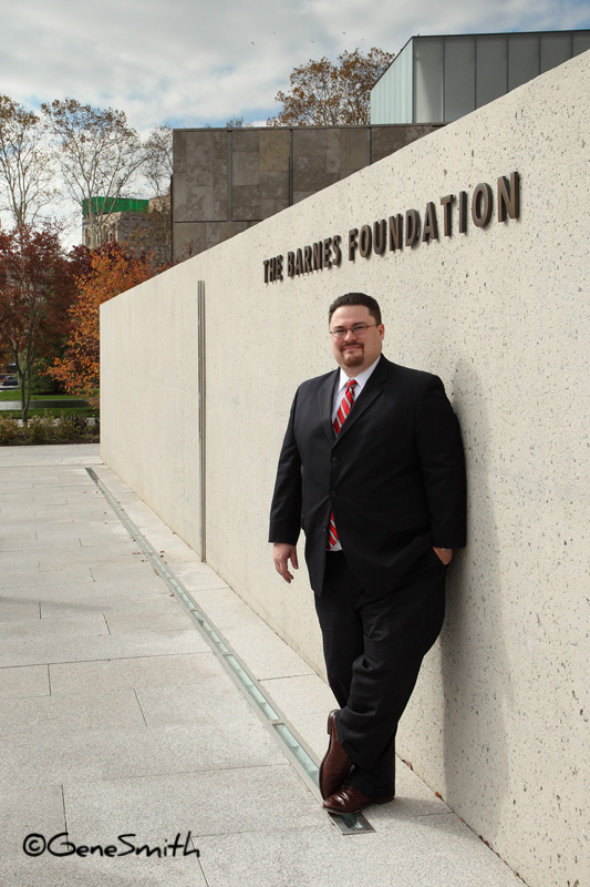 Professional engineer poses outside Barnes Foundation museum in Philadelphia, PA.