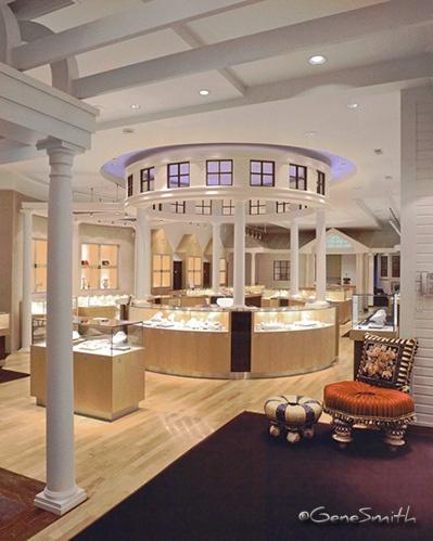 Upscale jewelry store interior
