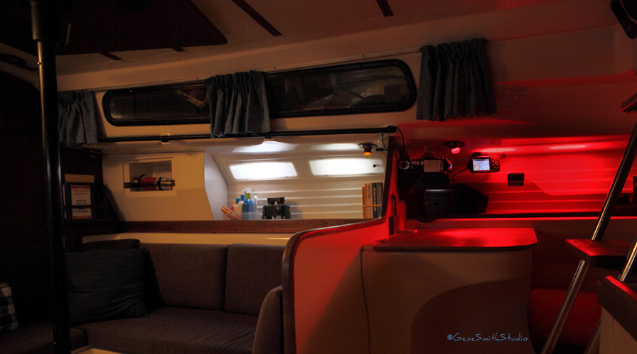 yacht interior with built in led backlighting