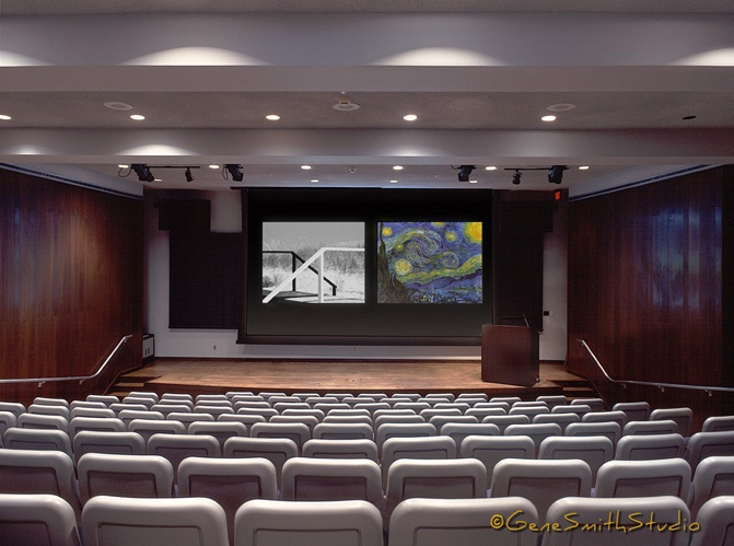 University theatre with movie screens