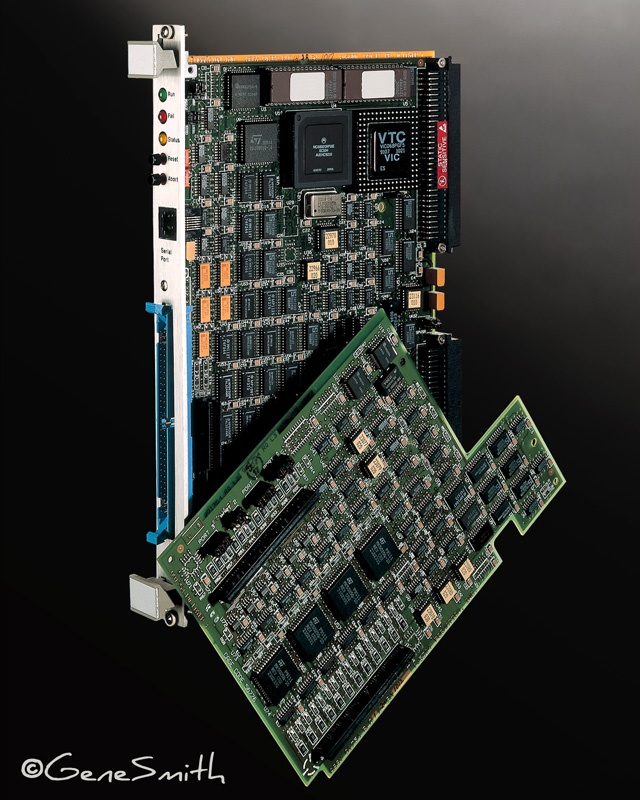 Circuit boards photographed on a gray background