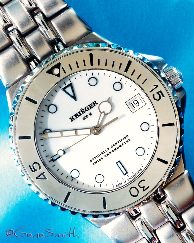 Krieger Hammerhead Watch photographed on beautiful blue background by Gene Smith Studio for Magazine and display advertising