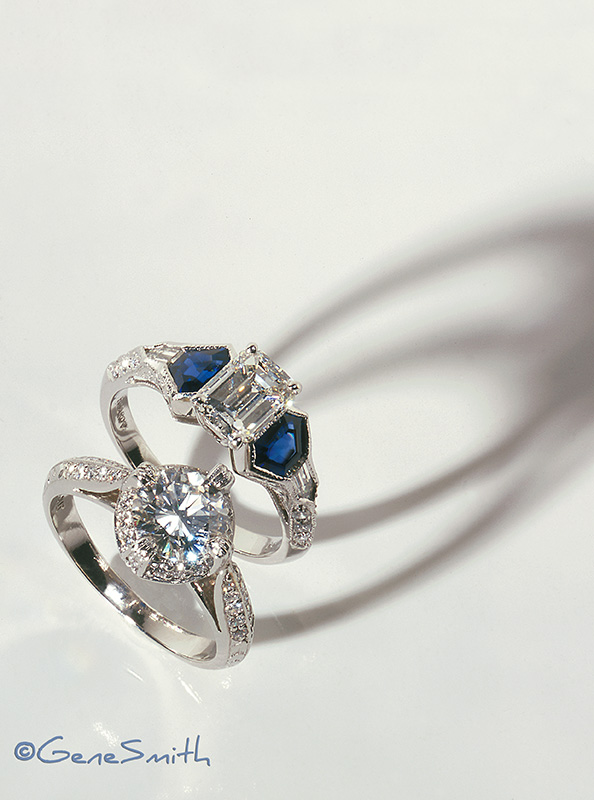 Precious platinum and diamond rings photographed by Gene Smith Studio for magazine spread and display advertising