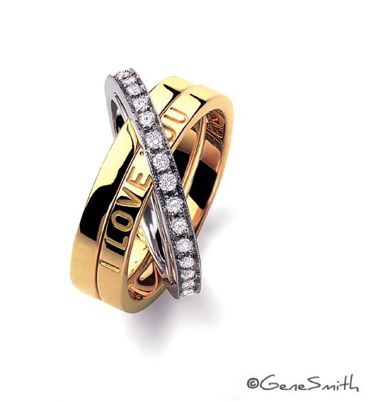 """I Love You' Gold, Platinum and Diamond ring"