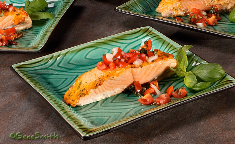 Baked Salmon on green dinner plate