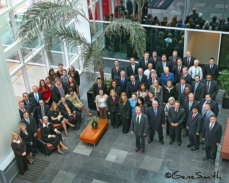 Executive group photo on location for Smith Barney