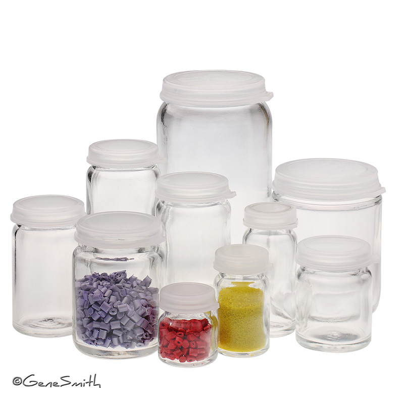 glass bottles and vials photographed for catalog