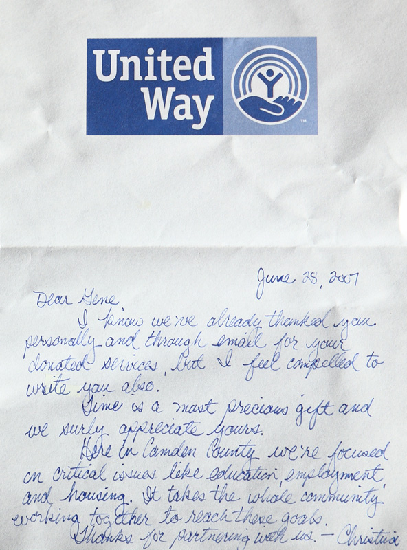 Thank you note to Gene Smith crom Camden County United Way