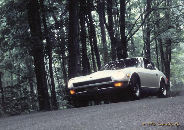 1971 Datsun 240Z carves mountain road in upstate NY.