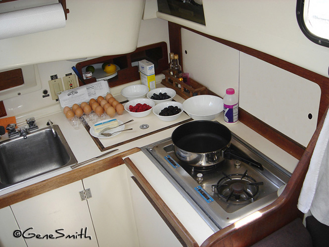 Yacht Galley all prepped for breakfast meal preparation