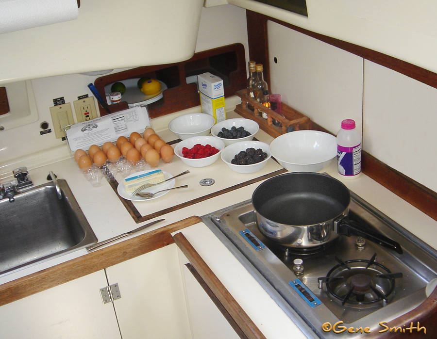 yacht galley with blueberry pancakes ingredents