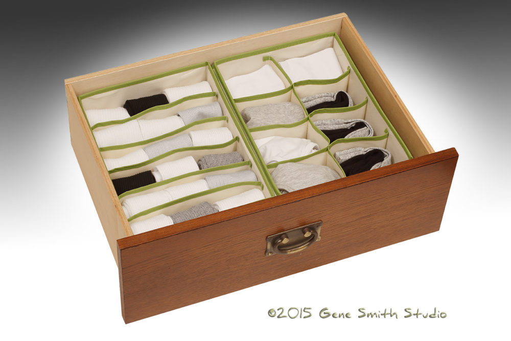 Green separators in this drawer organizer keep socks organized