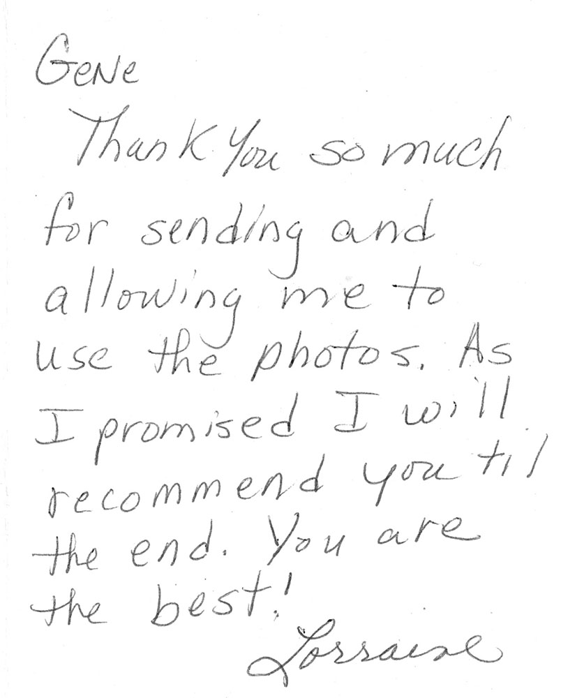 Thank-you note to photographer Gene Smith, Cherry Hill, NJ