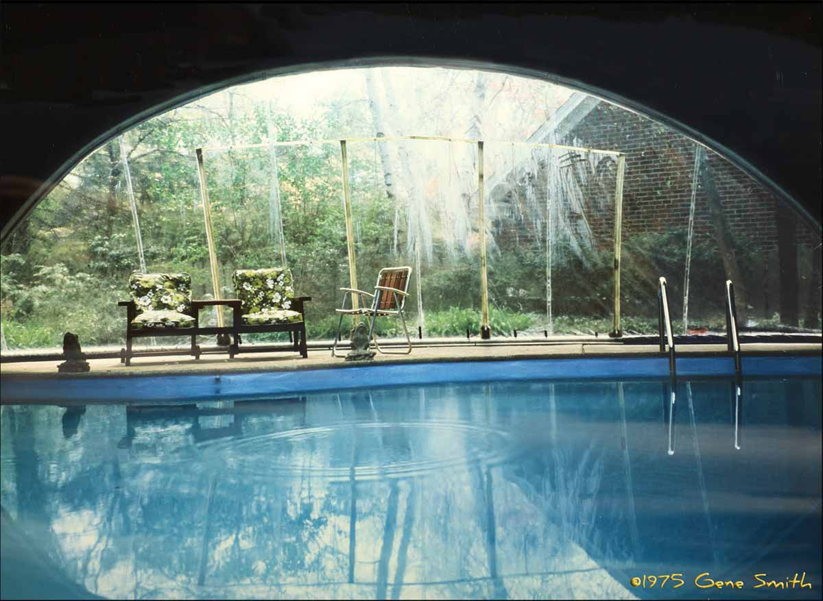 Inside of tent style pool enclosure.