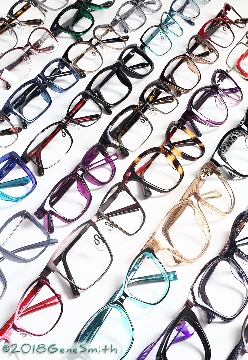 Multicolored fashion eyeglass frames photographed with a forced perspective make a striking image.