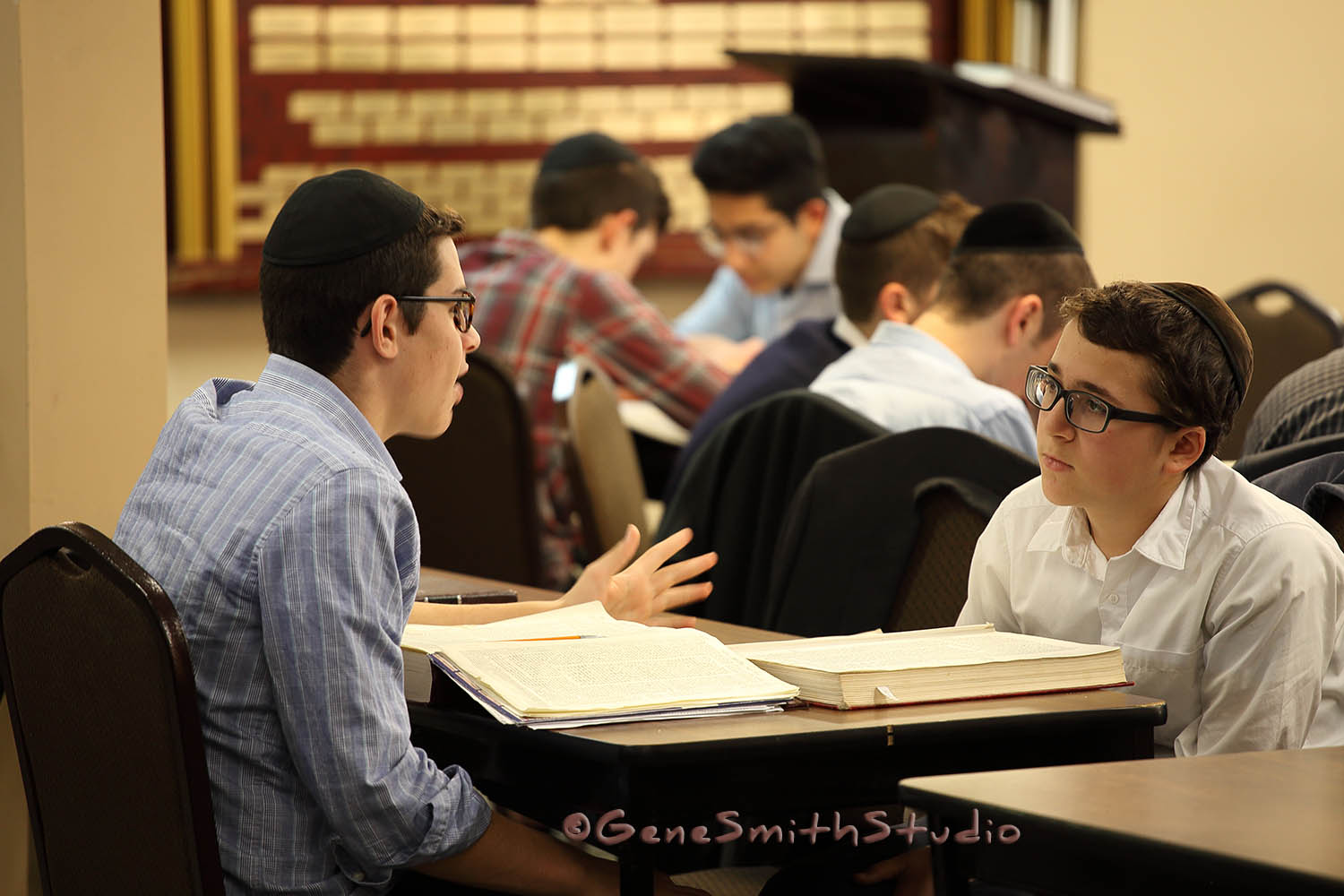 Two Conservative Jewish young men study together in Study Hall at the Foxman Torah Institute in Cherry Hill, NJ