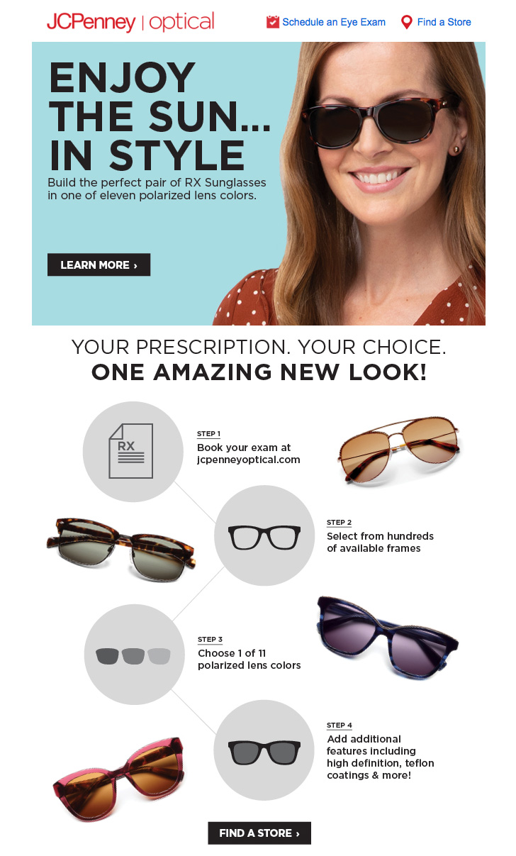 Pretty young lady with JC Penney optical brand sunglasses for JCPenney's advertising