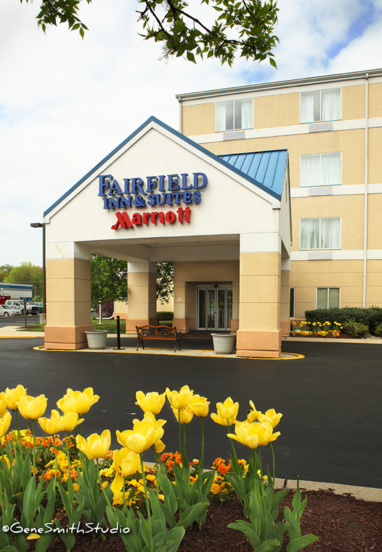 Rear entrance to a Fairfield Inn & Suites by Marriott